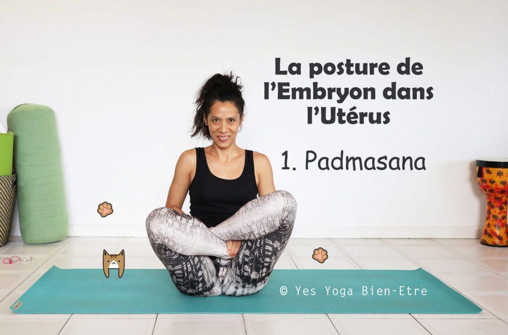 faire garbha pindasana la posture de l'emrbyon dans l'utérus, étape 1 padmasana